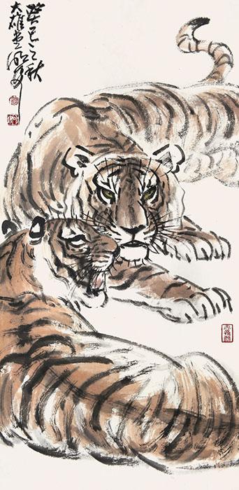 擅长花鸟动物画,尤擅画虎.