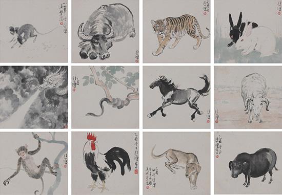 徐悲鸿《动物十二生肖》