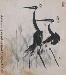 国画四尺竖幅双鹤图片