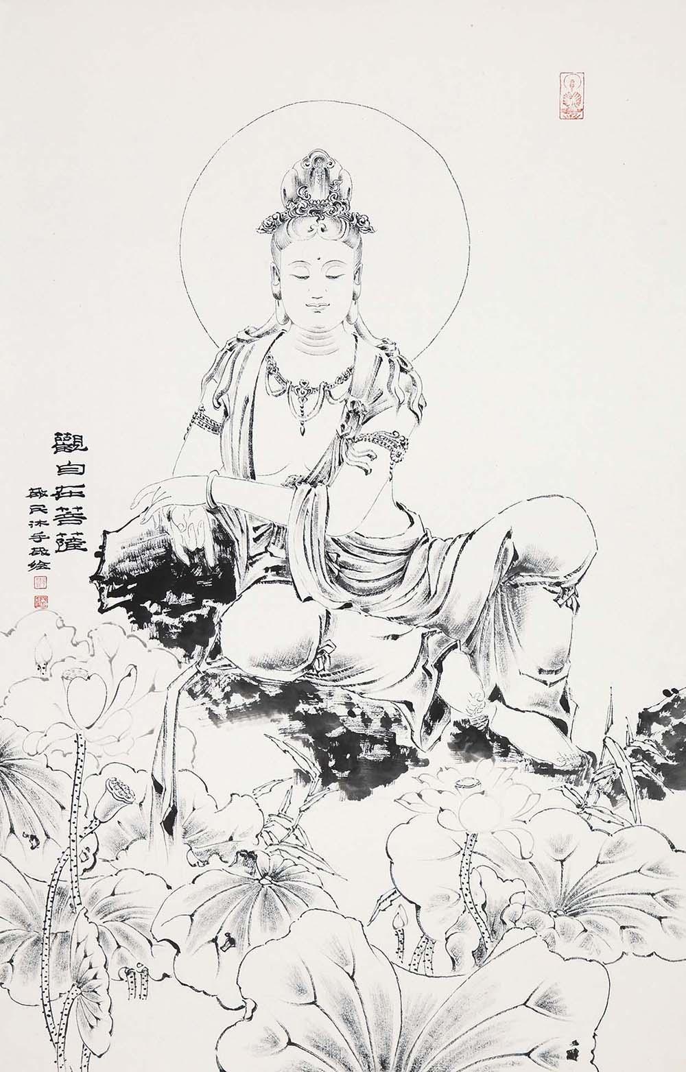 邓敬民白描佛像,邓敬民-白描观音