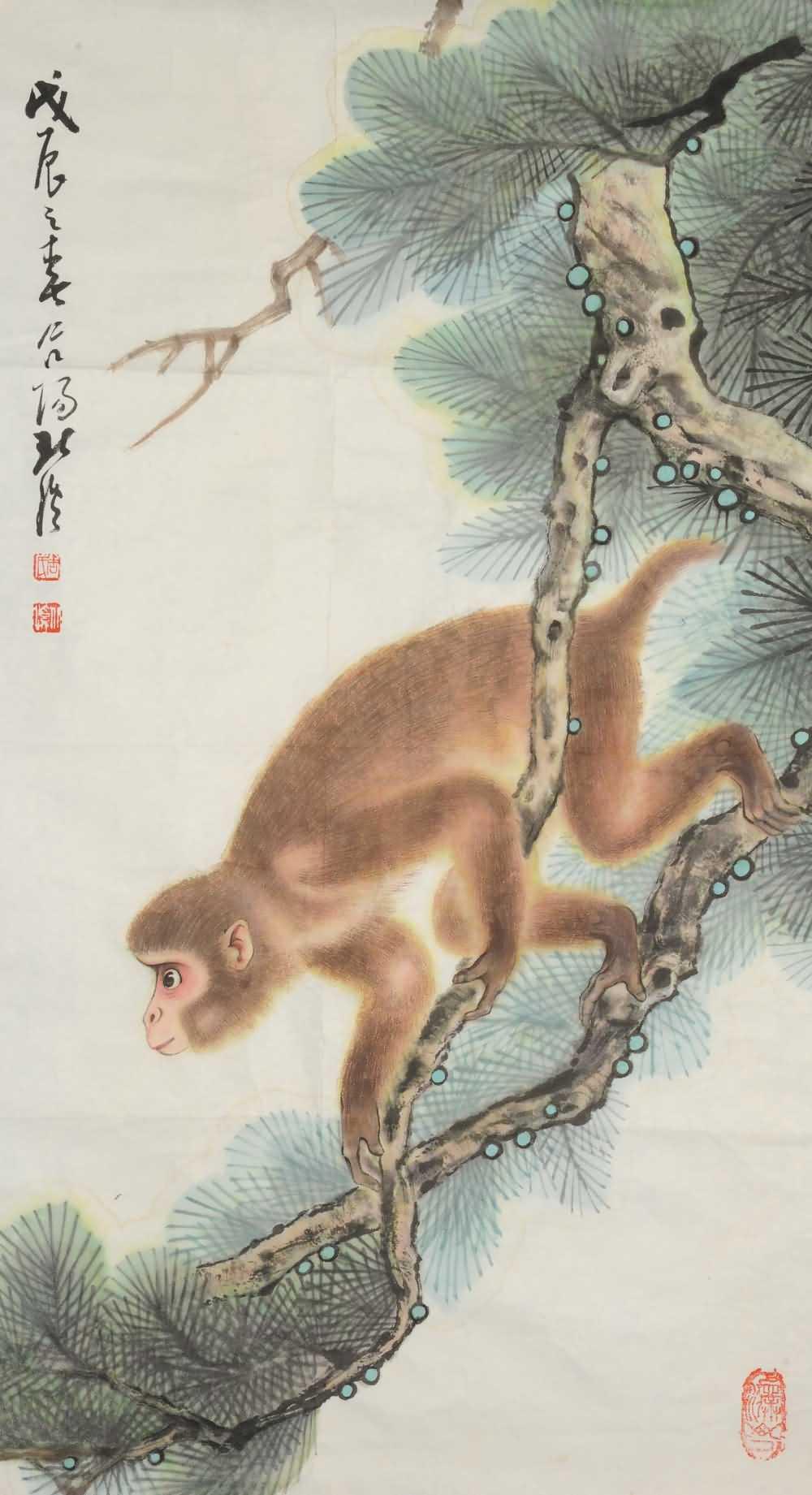 周北溪工笔动物,周北溪-猴