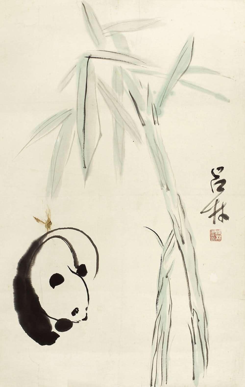 吕林写意动物,吕林-熊猫