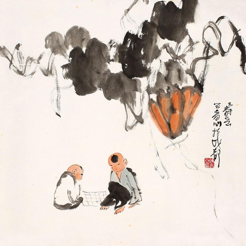 竹林对弈图手绘简笔