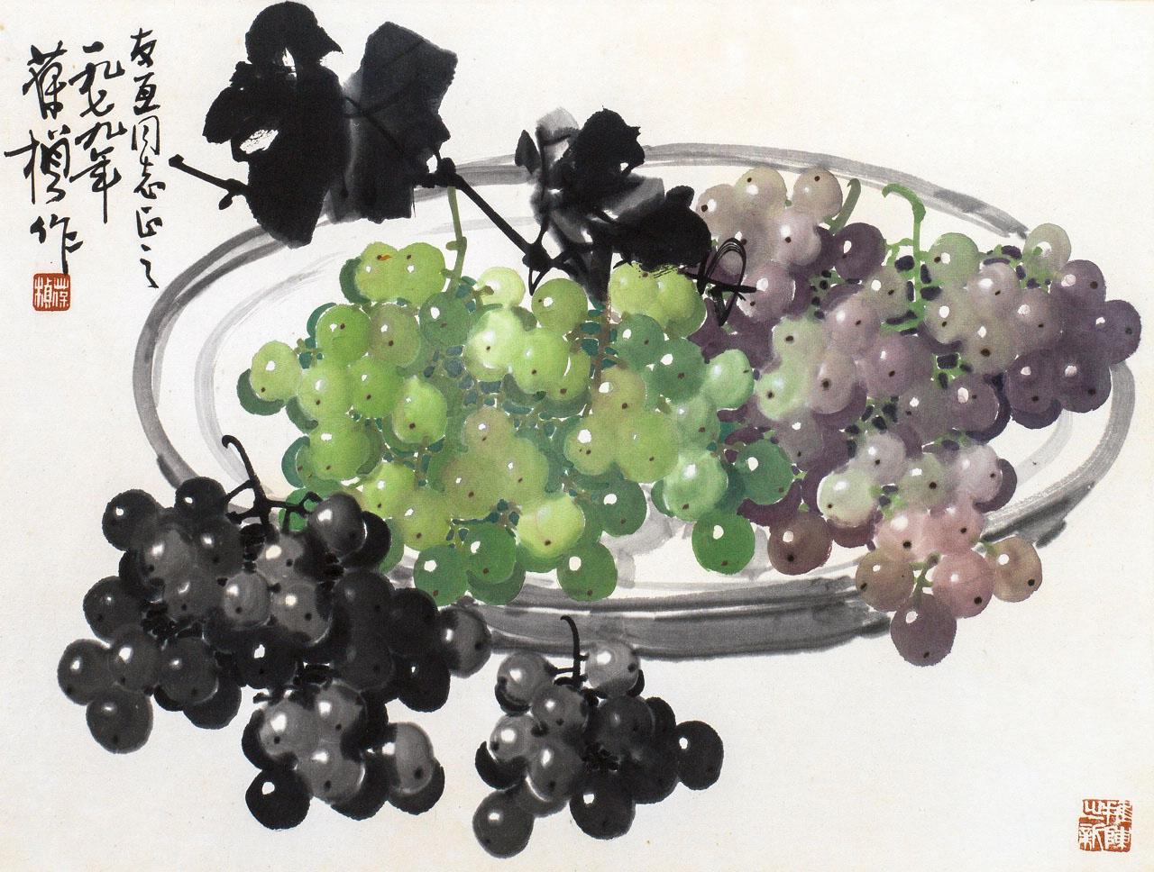 国画画圆面葡萄